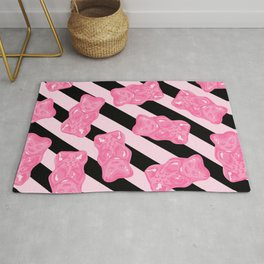 Jelly Beans & Gummy Bears Pattern - Pink and Black Rug