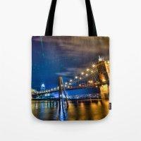 cincinnati Tote Bags featuring Cincinnati Skyline by Dylan Thomas