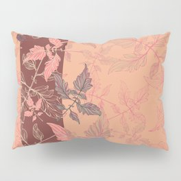 Tomatoes leaves in coral Pantone palette Pillow Sham