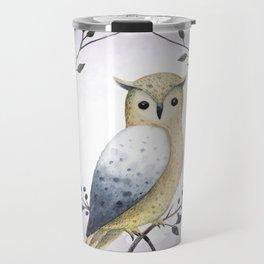 A Long Eared Owl On A Laurel Travel Mug
