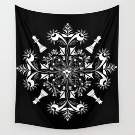 White Chess Inspired Queenly Motif Wall Tapestry