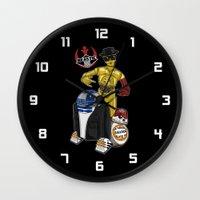 beastie boys Wall Clocks featuring Beastie Droids by JVZ Designs