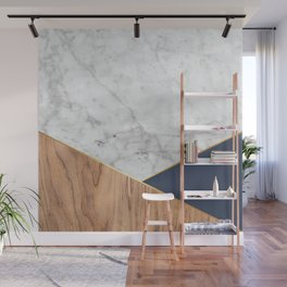 White Marble - Wood & Navy #599 Wall Mural