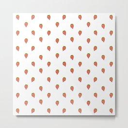 Cartoon Style Strawberries Pattern Design Metal Print