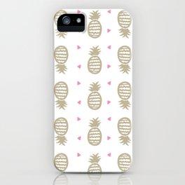 Golden pineapple pattern iPhone Case