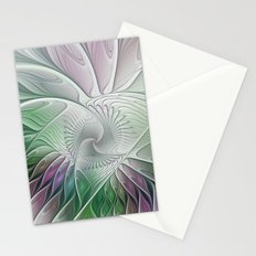 Colorful Fantasy Flower, Abstract Fractal Art Stationery Cards