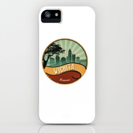 Wichita City Skyline Kansas Retro Vintage Design iPhone Case
