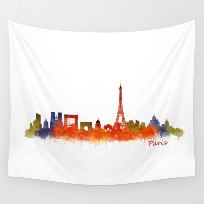 Paris City Skyline Hq v2 Wall Tapestry
