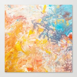 Austere Conflict Abstracted | Red, orange & Blue Canvas Print