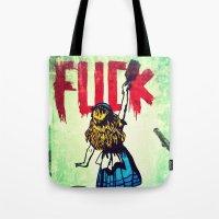 writing Tote Bags featuring Writing Fuck by Mauricio Santana