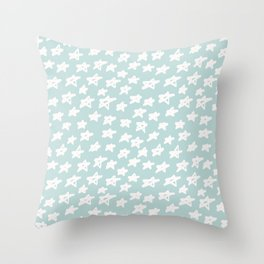 Stars on mint background Throw Pillow