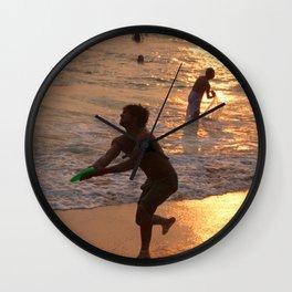 Frisbee Thrower on Varkala Beach at Sunset Wall Clock