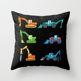 Excavator driver construction machinery Boys Throw Pillow