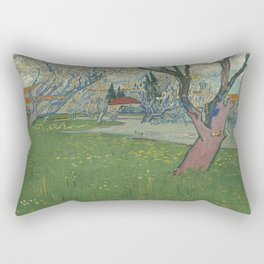 Orchards in blossom, view of Arles by Vincent Van Gogh Rectangular Pillow