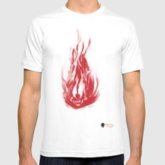 Flame Skull Mens Fitted Tee White MEDIUM