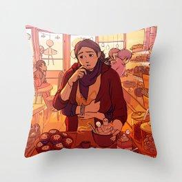 Kitty in Wonderland cookie set Throw Pillow