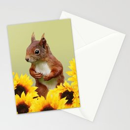 Squirrel in Sunflower Blossoms Field Stationery Cards