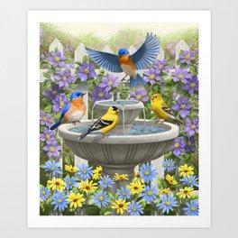 Bird Fountain Flower Garden Gathering Art Print