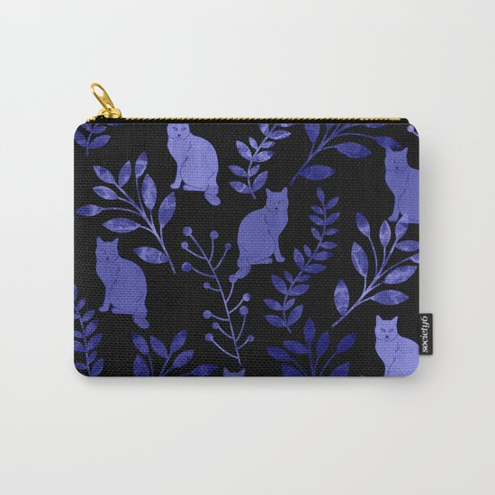 Watercolor Floral and Cat Carry-All Pouch