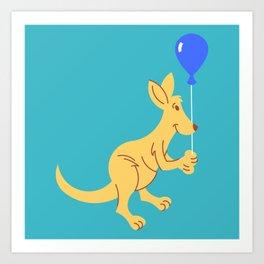 Kangaroo with Balloon Art Print