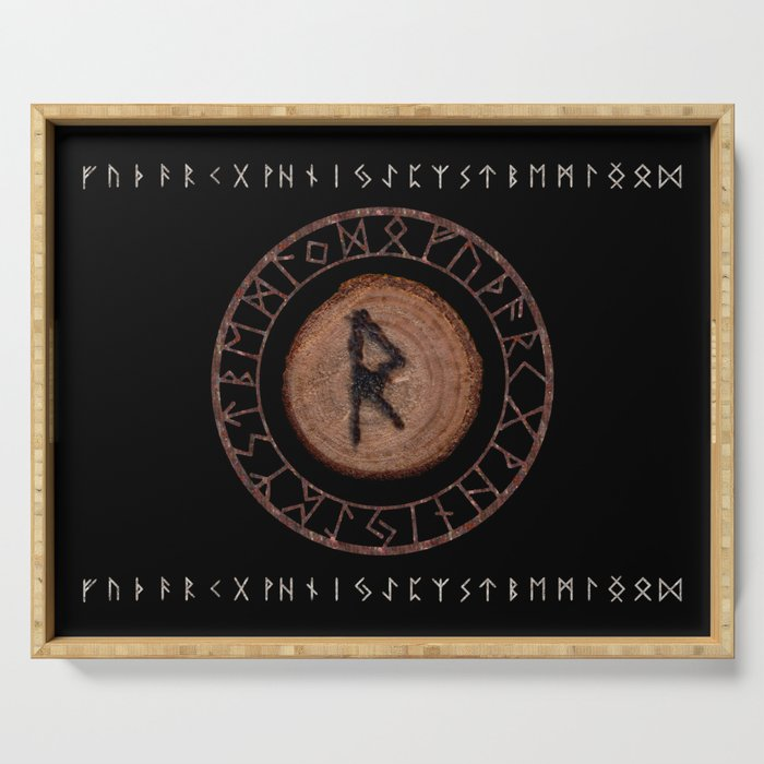 Raidho Elder Futhark Rune Travel, journey, vacation, relocation, evolution, change of place Serving Tray