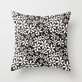 Monochrome paper cut flowers pattern Throw Pillow