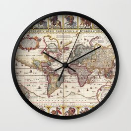 1652 Map of the World, Doncker Sea Atlas World Map Wall Clock