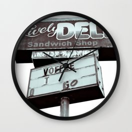 Old deli sign Wall Clock