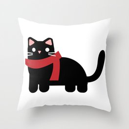 Cute kitten with a scarf Throw Pillow