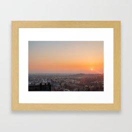 colorful sunset in Bergamo Framed Art Print