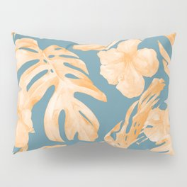 Island Hibiscus Palm Coral Teal Blue Pillow Sham