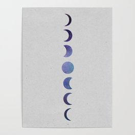 Galaxy Moon Phases Poster