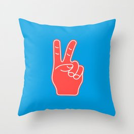 Peace and Love - Minimal Pop Art Hand Throw Pillow