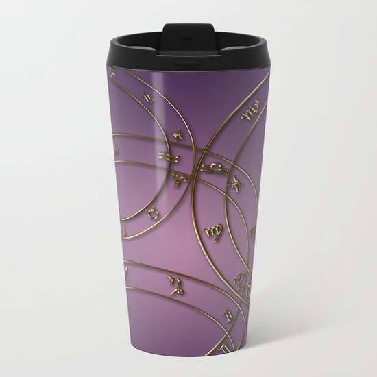 Zodiac signs and circles pink Metal Travel Mug