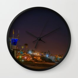 Main Beach at Night Wall Clock