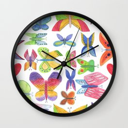 bright juicy spring summer seamless pattern of colorful fun colorful butterflies isolated on a white Wall Clock