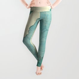 Maine State Map Blue Vintage Leggings
