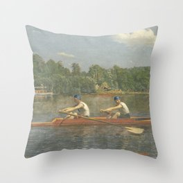 The Biglin Brothers Racing by Thomas Eakins Throw Pillow