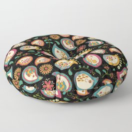 Hedgehog Paisley_Party Colors Floor Pillow