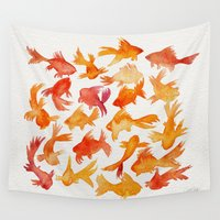 fishing Wall Tapestries featuring Goldfish by Cat Coquillette