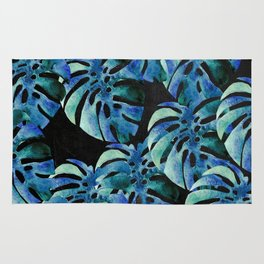 Monstera Pattern Blue On Chalkboard Rug
