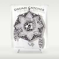 zentangle Shower Curtains featuring Zentangle Dreamcatcher by Vermont Greetings