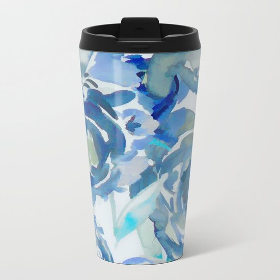 Sky Blue Painterly Floral Abstract Metal Travel Mug