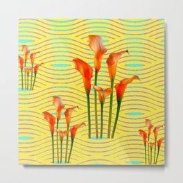 Yellow Modern Art Golden Calla Lilies Metal Print