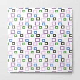 Geometrical lilac lavender blue forest green squares pattern Metal Print