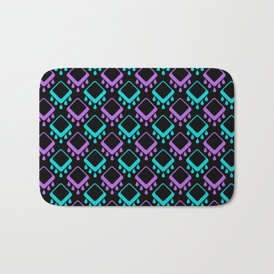 Abstract colorful geometric pattern . Black , Magenta , turquoise . Bath Mat