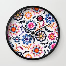 Happy Color Suzani Inspired Pattern Wall Clock