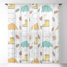cute lovely autumn pattern with umbrellas, rain, clouds, leaves and boots Sheer Curtain