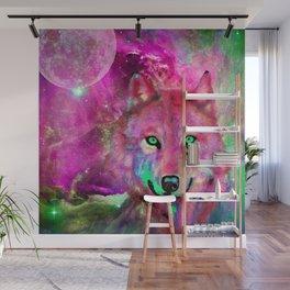 NEBULA WOLF OF MY DREAMS PINK Wall Mural