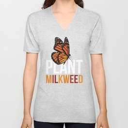 Milkweed design Gift for Monarch Butterfly Nature Lovers  Unisex V-Neck